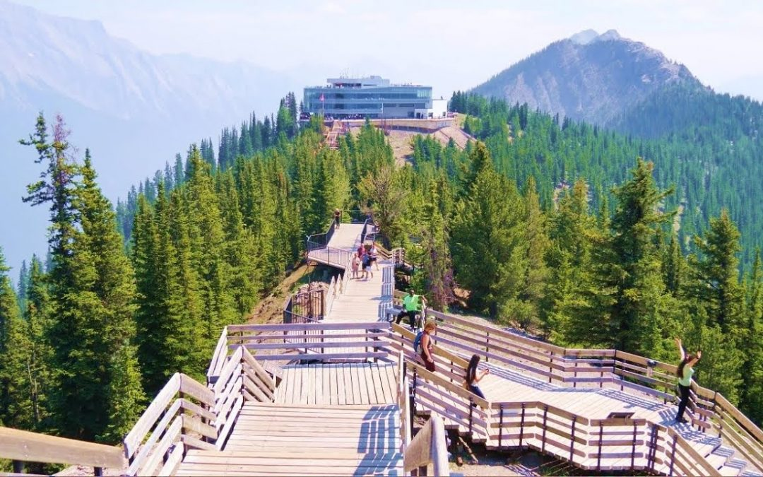 Banff Sulphur Mountain Boardwalk to Cosmic Ray Station and a Meteorological Observatory building