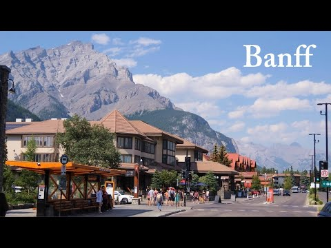 Banff Alberta Canada Travel 2021 Downtown and Bow Falls 4K video