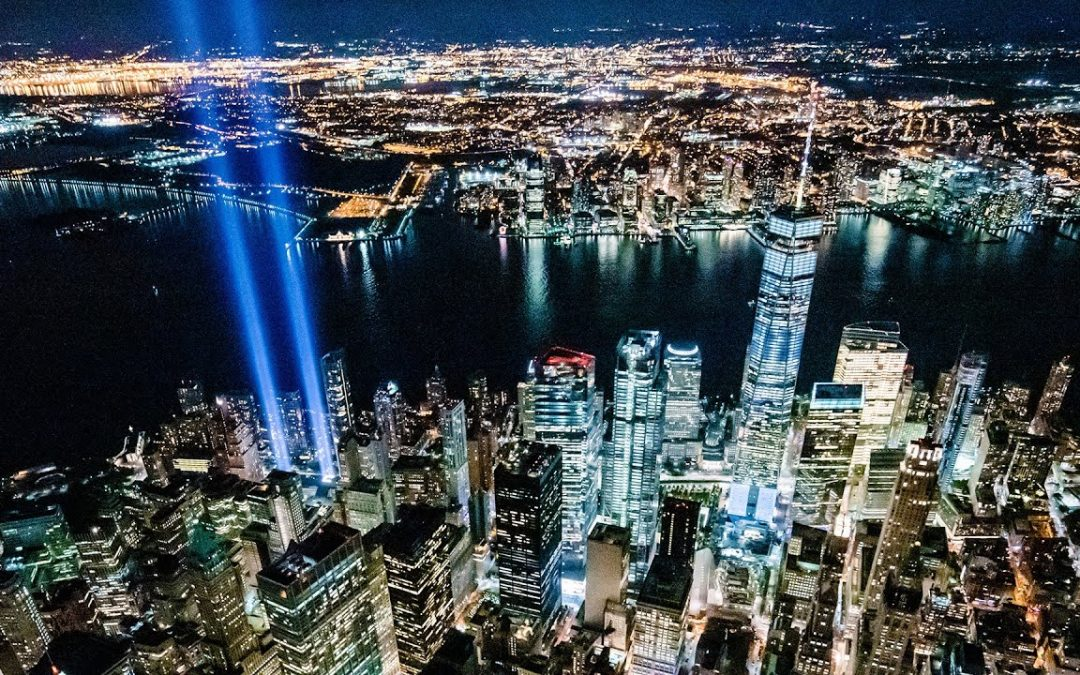 9/11 Tribute In Light Doors Off Helicopter Over New York City