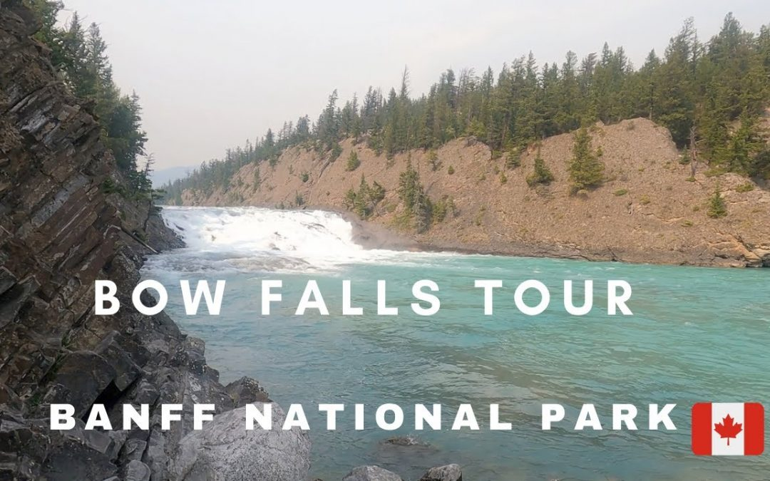 Famous BANFF BOW FALLS Walking Tour from Banff  Market place to  Bow River Trail and Bow Falls