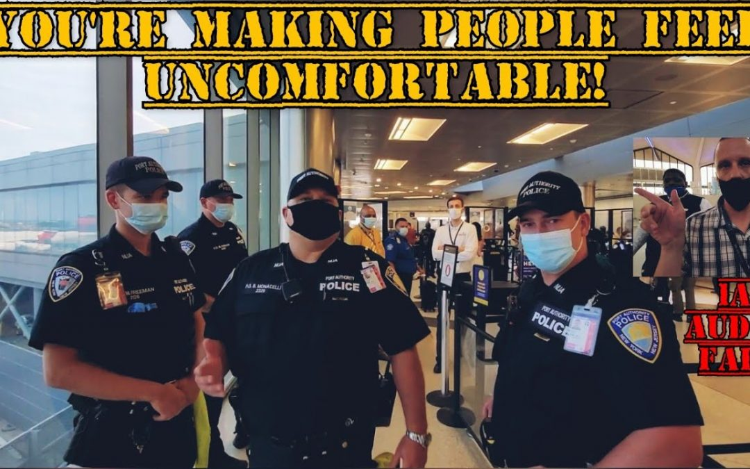 """""""WHERE'S YOUR CREDENTIALS!?"""" PORT AUTHORITY, TSA & AIRLINE EMPLOYEES GET EDUCATED ON OUR RIGHTS!"""